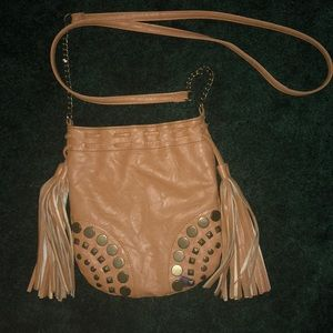 Brown tan leather purse with tassels